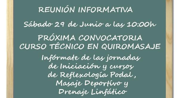 29 de Junio – Reunión Informativa Curso Técnico en Quiromasaje 2019-2020